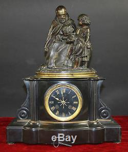 Horloge De Table. Emile Robert-houdin. Marbre Et Bronze. France. Xixe Siècle
