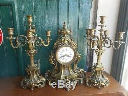 Horloge Pendule + 2 Chandeliers En Bronze Dore J. Pebeyre Paris