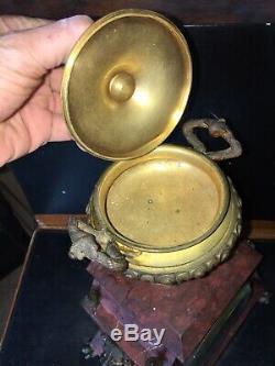 Horloge Pendule Depoque Napoleon III Marbre Bronze Mvt. Signé Pinchon Fils Ainé