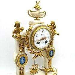 Horloge Pendule Portique d'époque Napoleon III -en Bronze dorè et marbre 19ème