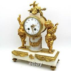 Horloge Pendule d'époque Napoleon III en Bronze dorè et marbre 19ème