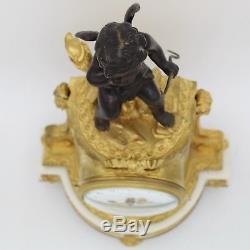 Horloge Pendule d'époque Napoleon III -en Bronze doré et marbre- du 19ème siècle