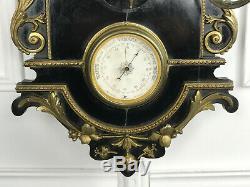 Horloge /carillon / Barometre / Epoque Napoleon III De 89 CM De H Orné De Bronze