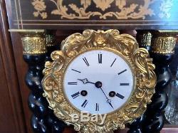 Horloge pendule à colonnes bois et bronze XIXème Napoléon III