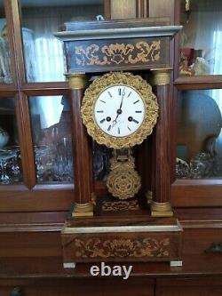 Horloge pendule portique marqueterie et bronze XIXème époque Napoléon III