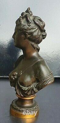 Houdon D'apres Buste En Bronze Patine Marron Representant Diane Xixeme 25cm