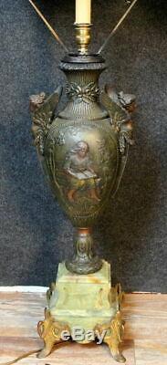 Immense lampe époque Napoléon III en bronze, marbre et antimoine Lot B