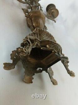 Important bougeoir en bronze Epoque et style Napoléon III 2,2 kg 43 cm