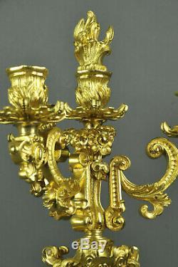 Importante Paire De Candélabres Napoléon III En Bronze Doré