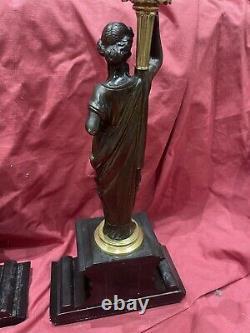 Importante Paire De Flambeaux bronze Dore candélabre Epoque Napoleon III
