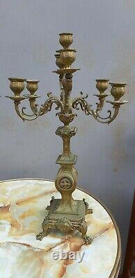 Importante paire de chandeliers XIXème 7 branches en bronze