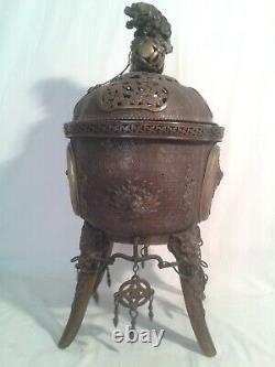 Imposant Brule Parfum Bronze Chine Japon Chinese Japan Asia Incense Burner