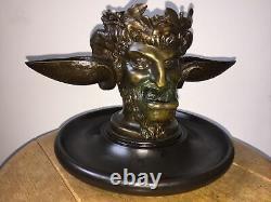 Imposant encrier en bronze tête de faune / satyre Napoléon III