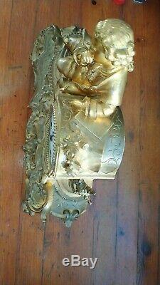 Japy Frères 1850 Antique gilt bronze mantel clock Horloge pendule Tischuhr Kamin