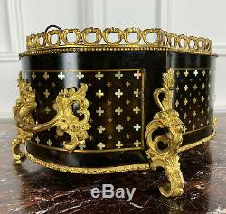 Jardinière D'époque Napoléon III Marqueterie À La Reine Ornée De Bronze Doré