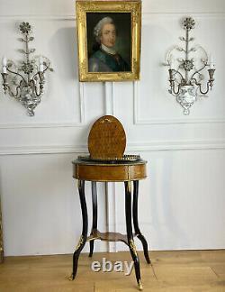 Jardiniere Estampillée En Marqueterie / Ornée De Bronzes Epoque Napoléon III