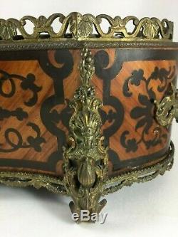 Jardiniere Napoleon III Avec Plaque Porcelaine Ornementation Bronze XIX Emeh463