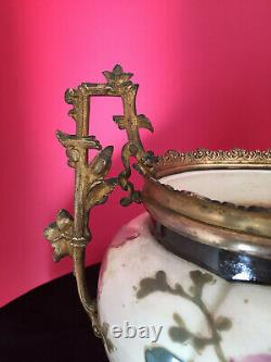 Jardinière Napoléon III En Céramique, Très Fin Décor En Barbotine, Monture Bronze