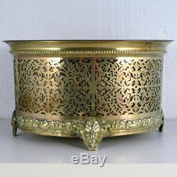 Jardinière cache pot Napoléon III laiton ajouré bronze cuivre XIXème ancien