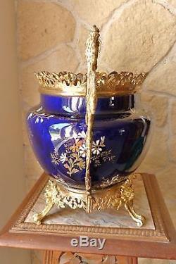 Jardinière en faïence de Lunéville et laiton bronze doré Napoléon III ref 676