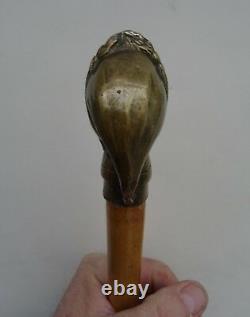 Jolie Canne Casse Tête Pommeau En Bronze figurant dante