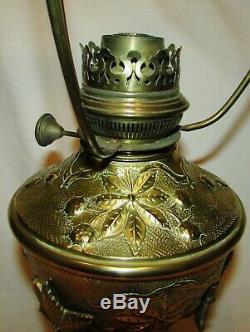 LAMPE PARISIENNE LELEU A PETROLE BRONZE & PAMPILLES 19ème siècle