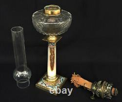 LAMPE à PETROLE Cristal Baccarat Onyx Bronze Emaux Cloisonnés Napoléon III XIXè