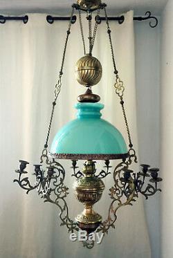 LUSTRE SUSPENSION Napoléon III Bronze, Laiton, Globe Opaline bleue/verte