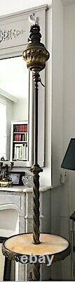 Lampadaire XIX avec lampe à pétrole en bronze et laiton, plateau onyx