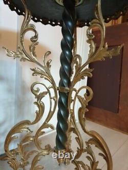 Lampadaire en bronze patiné laiton et onyx Napoléon III abat jour ancien