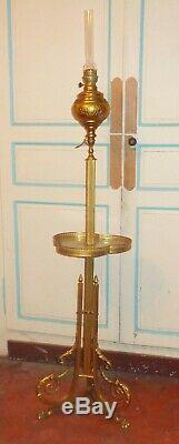 Lampadaire guéridon en bronze et onyx. Réglable. TBE. D'époque Napoléon III