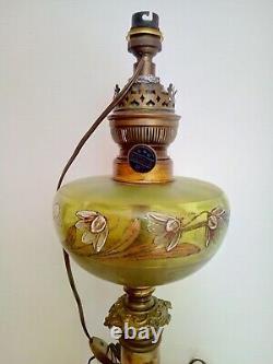 Lampe A Petrole Verre Emaille Pied Bronze Et Marbre Napoleon III Electrifie