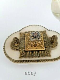 Lampe Ancienne en bronze et émail cloisonné, angelot Napoléon III fin XIX ème s