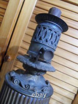 Lampe à Pétrole huile Mécanique bronze Mouvement Horlogerie vintage Oil Lamp 19e