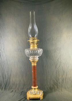 Lampe à pétrole à colonne en marbre et bronze, oil lamp