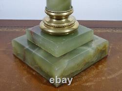 Lampe à pétrole à colonne en onyx et bronze XIXème, oil lamp