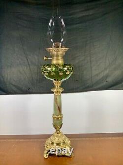 Lampe à pétrole à colonne en onyx et bronze de style rocaille, XIXème, oil lamp