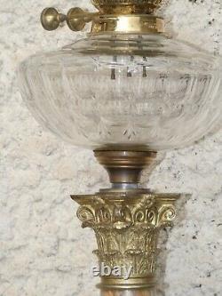 Lampe à pétrole d'époque Napoléon III 19e siècle en onyx, bronze doré et crista