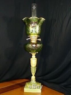 Lampe à pétrole en onyx et bronze grosse tulipe réservoir assorti XIXèm, oil lamp