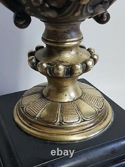 Lampe ancienne bronze Napoléon III chimère satire ébonite