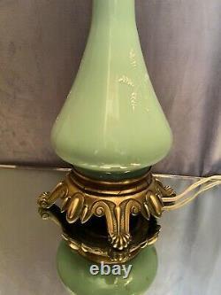 Lampe en porcelaine Vieux Paris vert céladon monture bronze XIXe Napoléon III