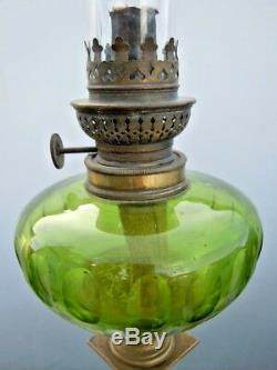 Lampe pétrole cristal taillé marbre bronze d'époque Napoleon III 19ème