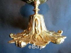 Lampe plafonnier, bronze Napoléon III aux acanthes et globe sculpté de feuilles