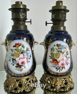 Lampes Huile pétrole PORCELAINE Valentine Bayeux Paris Bronze XIXe Napoléon III