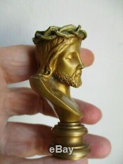 Lucas Madrassi buste Christ bronze doré Italie fin 19ème sceau de colllection