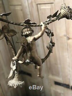 Lustre Angelot Ange Bronze Napoléon III Ancien 1900 XIXeme French Lamp