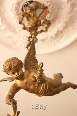 Lustre Angelot Bronze Napoleon III Vers 1890-1900
