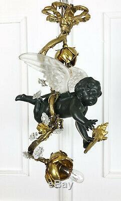Lustre Angelot D'époque Napoléon III Orné De Bronze Et Ailes En Cristal