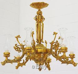 Lustre Belle Epoque En Bronze Style Napoleon III Empire 6 Feux Photophores