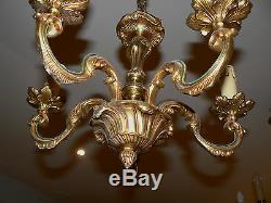 Lustre En Bronze Dore 5 Branches Eclairage Style LXV Niii